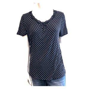 Black and white polka dot pajama top - L